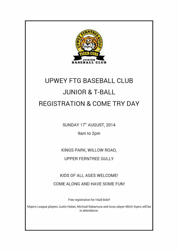 Tigers Baseball Rego day