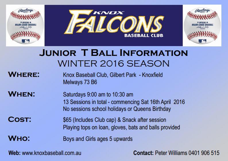 T Ball Info 2016